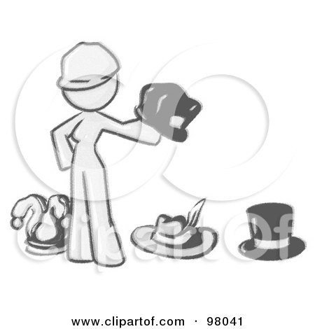 Royalty-Free (RF) Clipart Illustration of a Sketched Design Mascot Woman With Many Hats by Leo Blanchette