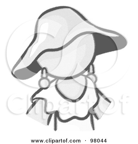 Royalty-Free (RF) Clipart Illustration of a Sketched Design Mascot Woman Avatar In A Dress And Hat, by Leo Blanchette