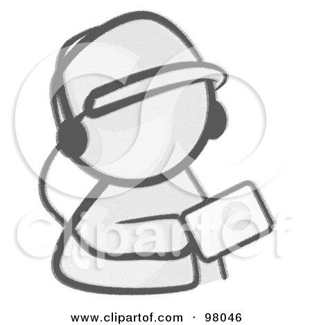 Royalty-Free (RF) Clipart Illustration of a Sketched Design Mascot Holding An Mp3 Player by Leo Blanchette