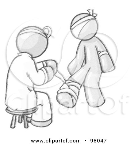 Royalty-Free (RF) Clipart Illustration of a Sketched Design Mascot Doctor Bandaging A Patient's Foot by Leo Blanchette