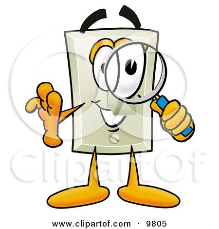 Clipart Picture of a Light Switch Mascot Cartoon Character Looking Through a Magnifying Glass by Toons4Biz