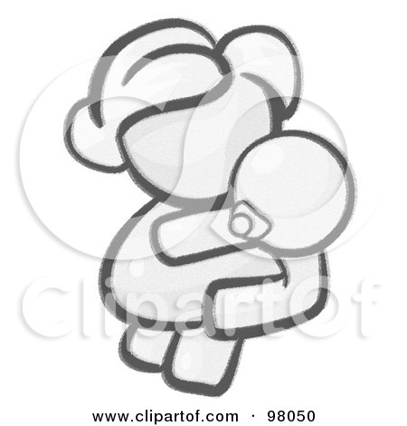 Royalty-Free (RF) Clipart Illustration of a Sketched Design Mascot Woman Avatar Mother Holding Her Baby by Leo Blanchette