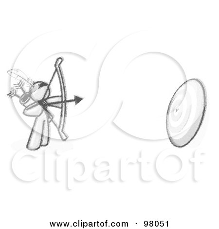 Royalty-Free (RF) Clipart Illustration of a Sketched Design Mascot Man Aiming An Arrow And Bow At A Target During Archery Practice by Leo Blanchette