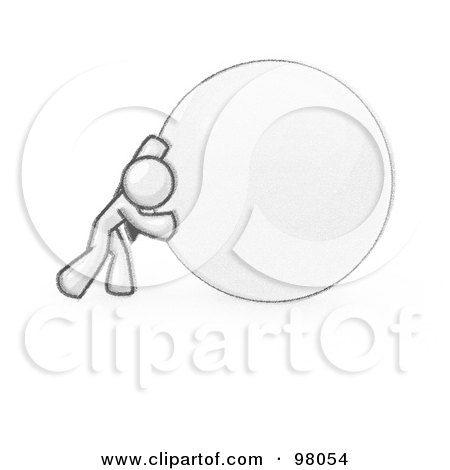 Royalty-Free (RF) Clipart Illustration of a Sketched Design Mascot Businessman Pushing A Giant Ball by Leo Blanchette