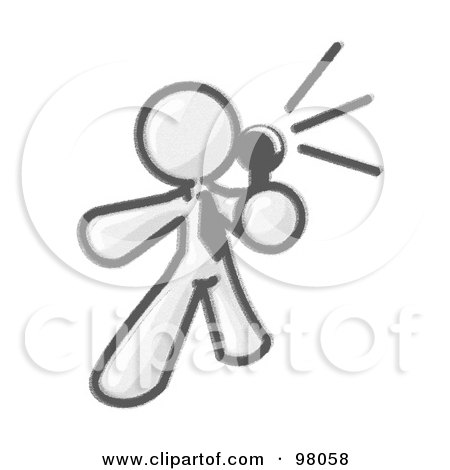 Royalty-Free (RF) Clipart Illustration of a Sketched Design Mascot Comedian Or Vocalist, Wearing A Tie, Standing On Stage And Holding A Microphone While Singing Karaoke Or Telling Jokes by Leo Blanchette