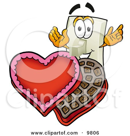 Light Switch Mascot Cartoon Character With an Open Box of Valentines Day Chocolate Candies Posters, Art Prints