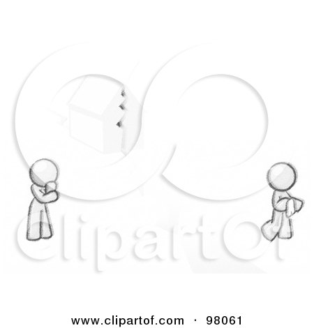 Royalty-Free (RF) Clipart Illustration of a Sketched Design Mascot Man And Woman With A House Divided by Leo Blanchette