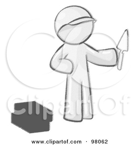 Royalty-Free (RF) Clipart Illustration of a Sketched Design Mascot Man Brick Layer Holding A Trowel by Leo Blanchette