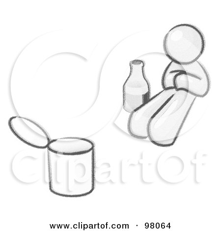 Royalty-Free (RF) Clipart Illustration of a Sketched Design Mascot Bum With Alcohol And A Can by Leo Blanchette