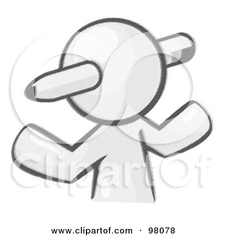 Royalty-Free (RF) Clipart Illustration of a Sketched Design Mascot Avatar Writer With A Pencil Through His Head by Leo Blanchette