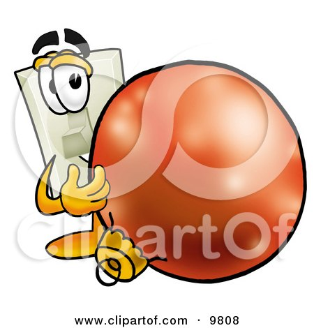 Clipart Picture of a Light Switch Mascot Cartoon Character Standing With a Christmas Bauble by Toons4Biz