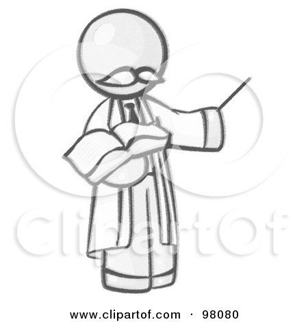 Royalty-Free (RF) Clipart Illustration of a Sketched Design Mascot Professor Holding A Pointer Stick And An Open Book by Leo Blanchette