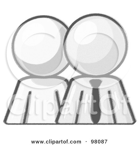 Royalty-Free (RF) Clipart Illustration of a Sketched Design Mascot Person Standing Beside A Businessman by Leo Blanchette