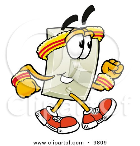 Clipart Picture of a Light Switch Mascot Cartoon Character Speed Walking or Jogging by Toons4Biz