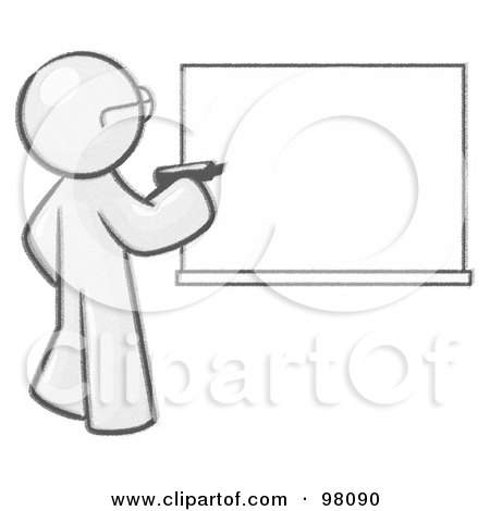 Royalty-Free (RF) Clipart Illustration of a Sketched Design Mascot Man Writing On A White Board by Leo Blanchette
