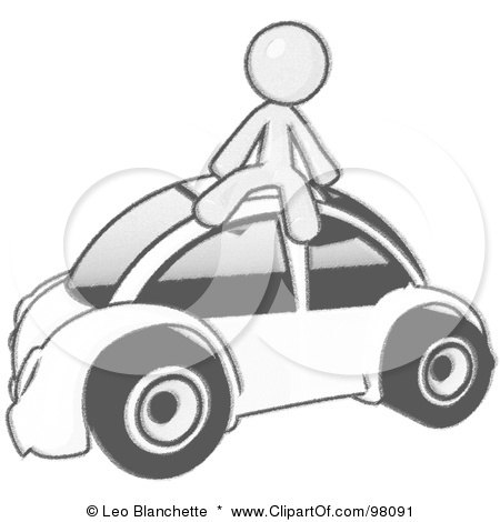 Royalty-Free (RF) Clipart Illustration of a Sketched Design Mascot Man Sitting On Top Of A Slug Bug by Leo Blanchette