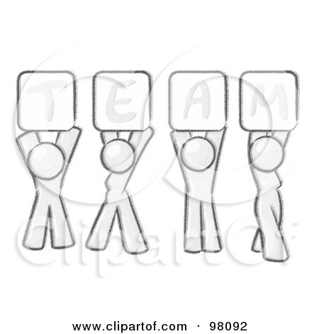 Royalty-Free (RF) Clipart Illustration of a Sketched Design Mascot Group Holding Up Team Signs by Leo Blanchette