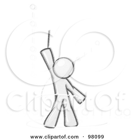 Royalty-Free (RF) Clipart Illustration of a Sketched Design Mascot Composing Binary Code by Leo Blanchette
