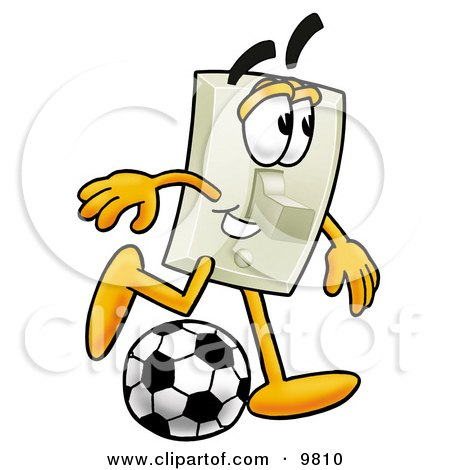 Clipart Picture of a Light Switch Mascot Cartoon Character Kicking a Soccer Ball by Toons4Biz