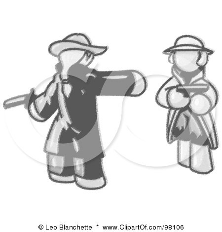 Royalty-Free (RF) Clipart Illustration of a Sketched Design Mascot Man Challenging Another Man To A Duel With Pistils by Leo Blanchette
