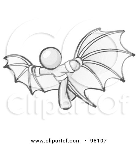Royalty-Free (RF) Clipart Illustration of a Sketched Design Mascot Man Strapped In Glider Wings, Prepared To Make Flight by Leo Blanchette