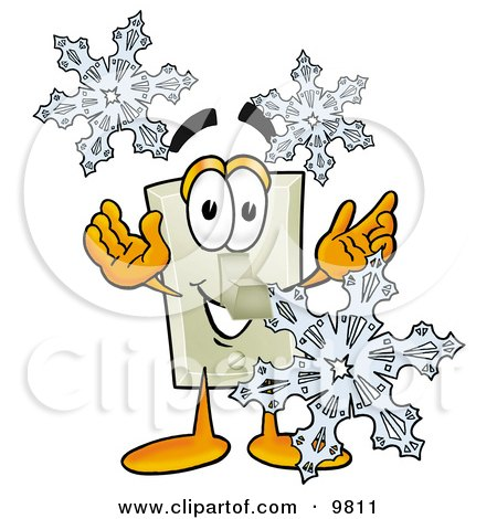 Light Switch Mascot Cartoon Character With Three Snowflakes in Winter Posters, Art Prints