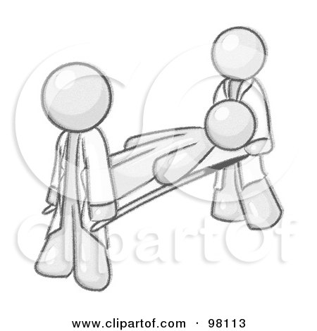 Royalty-Free (RF) Clipart Illustration of a Sketched Design Mascot Being Carried Out On A Stretcher by Leo Blanchette