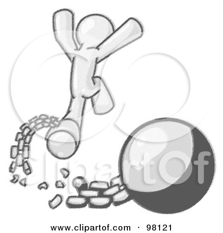 Royalty-Free (RF) Clipart Illustration of a Sketched Design Mascot Man Jumping For Joy After Breaking Free From The Ball And Chain by Leo Blanchette