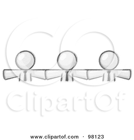 Royalty-Free (RF) Clipart Illustration of Sketched Design Mascot Businessmen Wearing Ties, Standing Arm To Arm, Symbolizing Team Work, Support, Interlinking, Interventions, Etc by Leo Blanchette