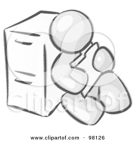 Royalty-Free (RF) Clipart Illustration of a Sketched Design Mascot Man Sitting By A Filing Cabinet And Holding A Folder by Leo Blanchette