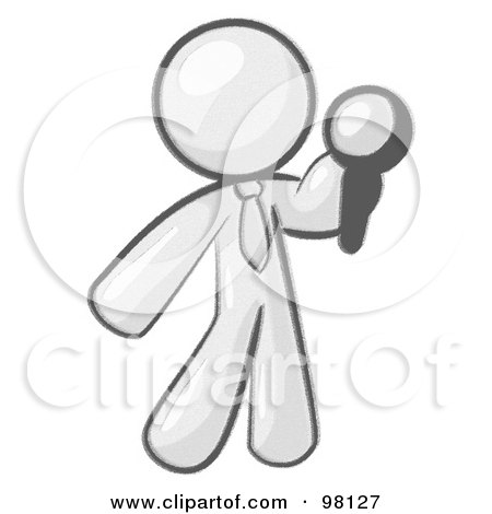 Royalty-Free (RF) Clipart Illustration of a Sketched Design Mascot Giving A Speech by Leo Blanchette