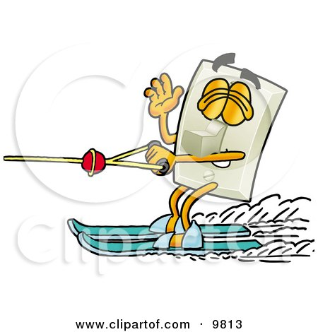 Clipart Picture of a Light Switch Mascot Cartoon Character Waving While Water Skiing by Toons4Biz