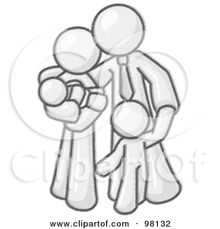 Royalty-Free (RF) Clipart Illustration of a Sketched Design Mascot Family Man, A Father And Husband, Hugging His Wife And Two Children by Leo Blanchette