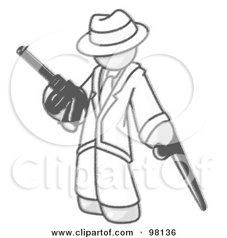 Royalty-Free (RF) Clipart Illustration of a Sketched Design Mascot Gangster Man In White Clothes, Carrying A Gun And Leaning On A Cane by Leo Blanchette