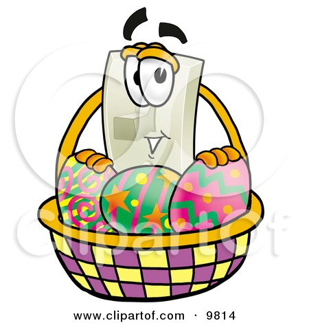 Clipart Picture of a Light Switch Mascot Cartoon Character in an Easter Basket Full of Decorated Easter Eggs by Toons4Biz