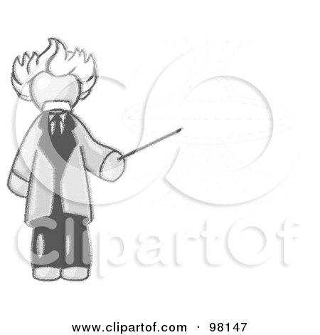Royalty-Free (RF) Clipart Illustration of a Sketched Design Mascot Man Depicted As Albert Einstein, Holding A Pointer Stick Up To A Drawing Of A Ufo Flying Saucer by Leo Blanchette