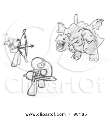 Royalty-Free (RF) Clipart Illustration of Sketched Design Mascot Men, One Using A Bow And Arrow, The Other Using A Shield And Sword, Working Together To Fight Off A Dragon by Leo Blanchette