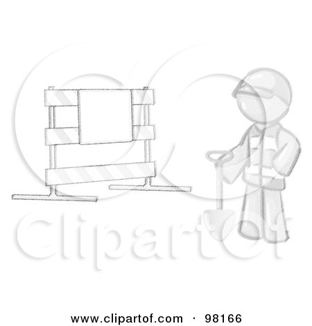 Royalty-Free (RF) Clipart Illustration of a Sketched Design Mascot Man Construction Worker In A Yellow Vest And Hardhat, Holding A Shovel And Standing By A Road Block Sign by Leo Blanchette