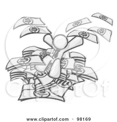 Royalty-Free (RF) Clipart Illustration of a Sketched Design Mascot Business Man Jumping In A Pile Of Money And Throwing Cash Into The Air, Winning The Lottery, Success, Or Other Financial Concepts by Leo Blanchette