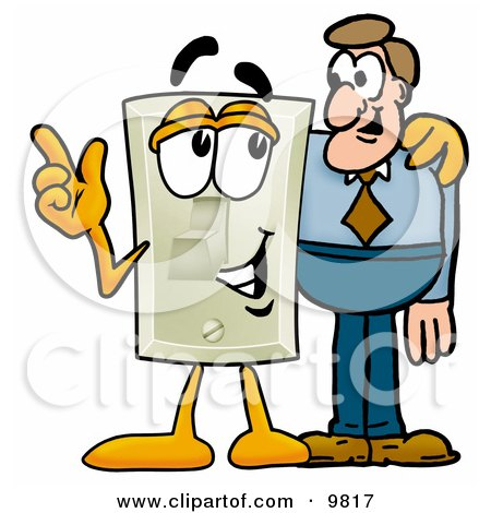 Clipart Picture of a Light Switch Mascot Cartoon Character Talking to a Business Man by Toons4Biz