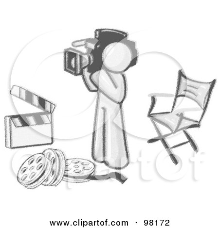 Royalty-Free (RF) Clipart Illustration of a Sketched Design Mascot Camera Man Filming And Standing By A Director's Chair, Rolls Of Film And A Clapperboard In A Studio by Leo Blanchette