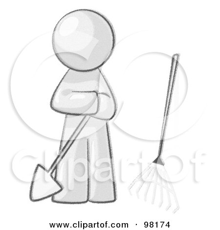 Royalty-Free (RF) Clipart Illustration of a Sketched Design Mascot Man Gardener With A Shovel And A Rake by Leo Blanchette