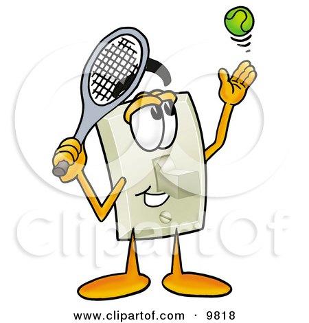 Light Switch Mascot Cartoon Character Preparing to Hit a Tennis Ball Posters, Art Prints