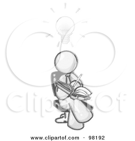 Royalty-Free (RF) Clipart Illustration of a Sketched Design Mascot Man Seated With His Legs Crossed, Brainstorming And Writing Ideas Down In A Notebook, A Lightbulb Over His Head by Leo Blanchette