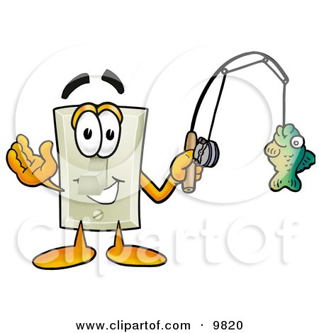 Light Switch Mascot Cartoon Character Holding a Fish on a Fishing Pole Posters, Art Prints