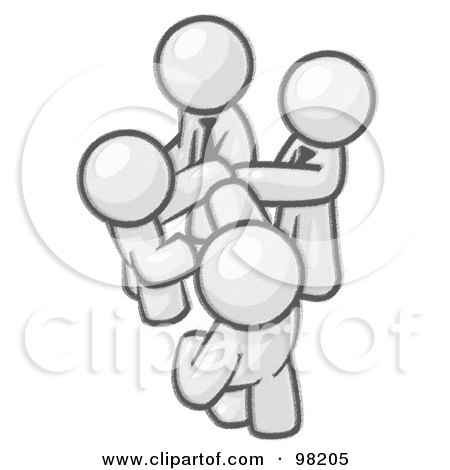 Royalty-Free (RF) Clipart Illustration of a Sketched Design Mascot Businessmen Going In Together On A Deal by Leo Blanchette
