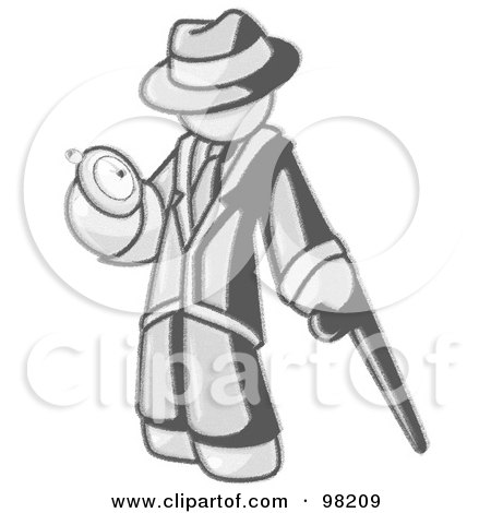 Royalty-Free (RF) Clipart Illustration of a Sketched Design Mascot Man Leaning On A Cane And Checking His Pocket Watch by Leo Blanchette