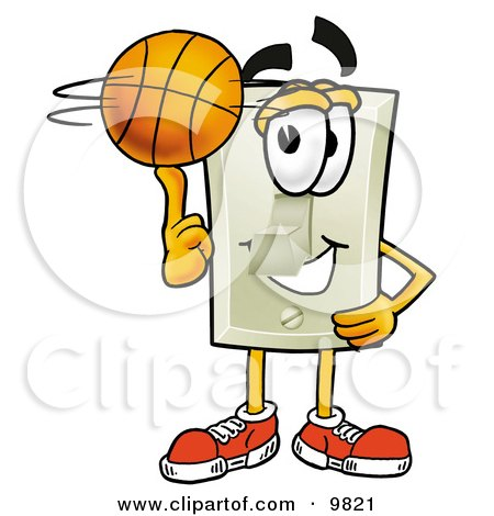 Light Switch Mascot Cartoon Character Spinning a Basketball on His Finger Posters, Art Prints