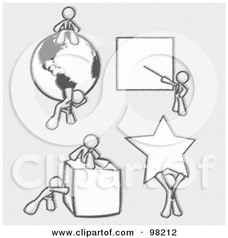Royalty-Free (RF) Clipart Illustration of Sketched Design Mascot Men Doing Different Things; Sitting On And Carrying A Globe, Pointing At A Board, Pushing And Sitting On A Cube, And Holding Up A Star by Leo Blanchette