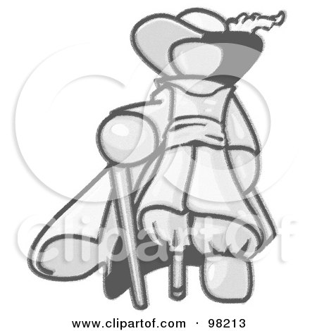 Royalty-Free (RF) Clipart Illustration of a Sketched Design Mascot Male Pirate With A Cane And A Peg Leg by Leo Blanchette